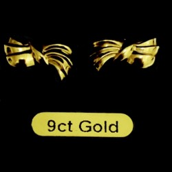 9ct Gold stud earrings Bows Italy