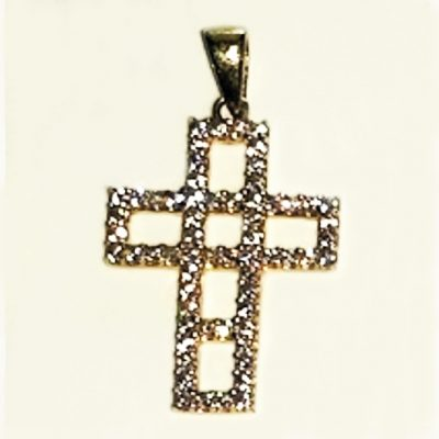 9ct yellow Gold Cross pendant zirconia