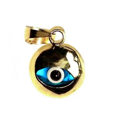 9ct yellow Gold Evil Eye mati nazar pendant charm 9mm