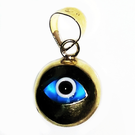 9ct yellow gold evil eye mati nazar pendant charm 9mm mozeypictures Images