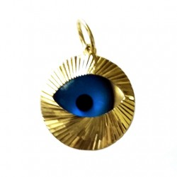 9ct yellow Gold Evil Eye Pendant diamond cut 15mm