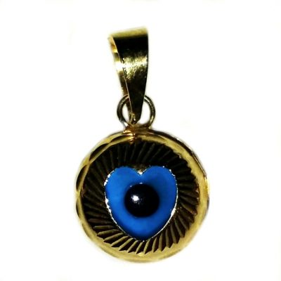 9ct yellow Gold Evil Eye Heart pendant charm 9mm