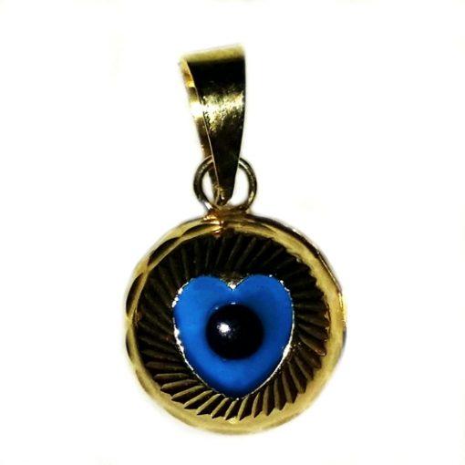 9ct yellow Gold Evil Eye Heart pendant charm 9mm