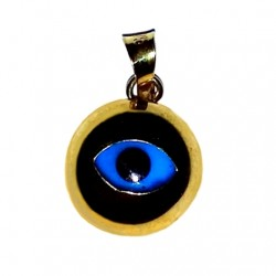 9ct yellow Gold Evil Eye mati pendant charm round 10mm