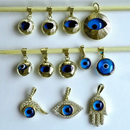 9ct yellow gold evil eye mati nazar pendant charm 9mm mozeypictures Image collections