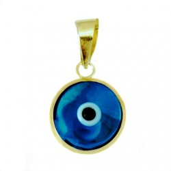 9ct yellow Gold Evil Eye transparent pendant charm 10mm