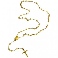 9ct yellow Gold rosary beads necklace 3mm Italy