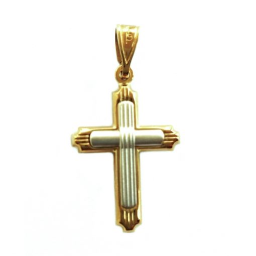 9ct yellow white Gold inlay Cross pendant