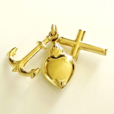 9ct Gold Hope Faith Charity charm pendant