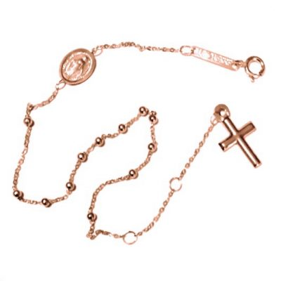 9ct rose Gold rosary beads bracelet Italy