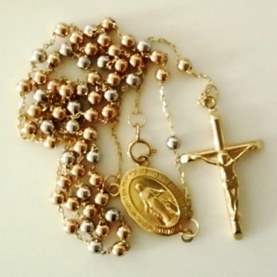 9ct Gold rosary beads chain Tri colour Italy