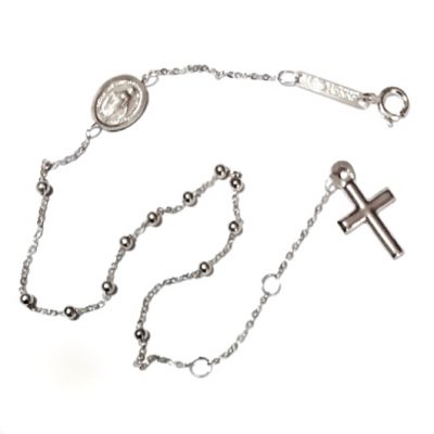 9ct white Gold rosary beads bracelet Italy