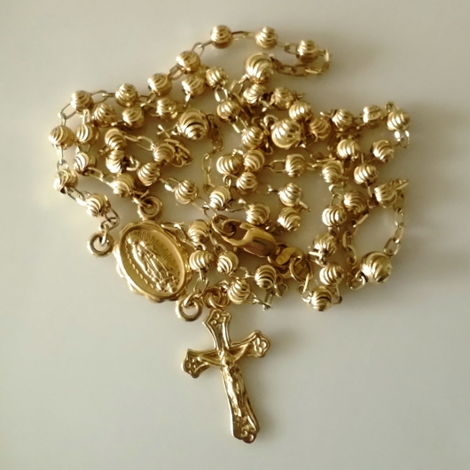 9ct Yellow Gold Rosary Beads Necklace