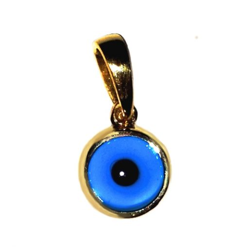 9ct yellow Gold Evil Eye pendant charm bezel 7mm
