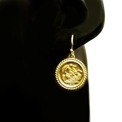 9ct Gold earrings 1906 St George Sovereign coin image