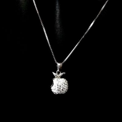 Sterling Silver Apple pendant Box chain necklace