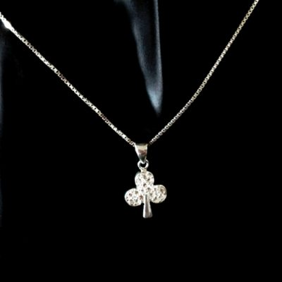 Sterling Silver Clover pendant Box chain necklace