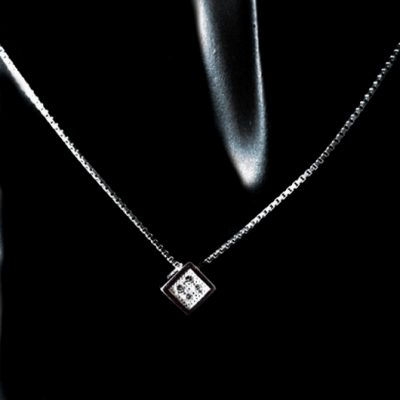 Sterling Silver Cube pendant box chain necklace