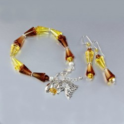 Swarovski Crystal Artemis bracelet earrings set Sterling Silver