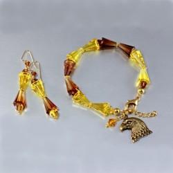 Swarovski Crystal Artemis bracelet earrings set 14k gold filled