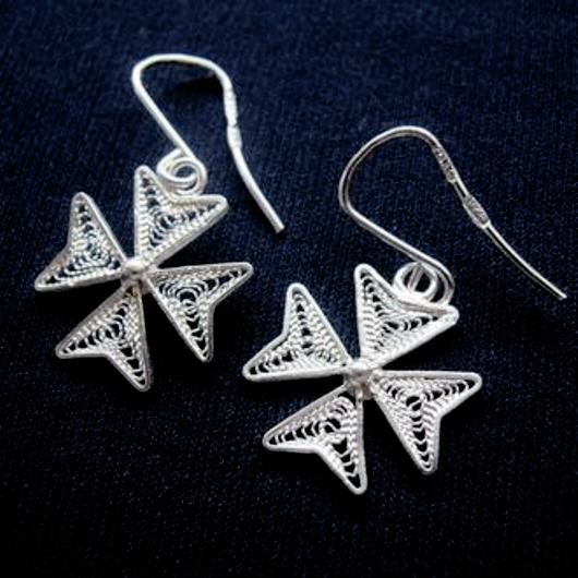 148fd16a2 Maltese Cross filigree Earrings Sterling Silver. Made in Malta.