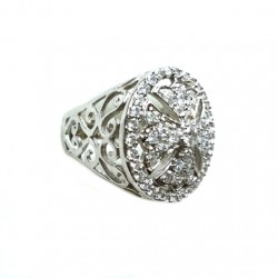 Maltese Cross ring Sterling Silver zirconia