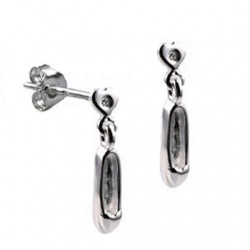 Ballet Shoe slipper Earrings diamonds Sterling Silver