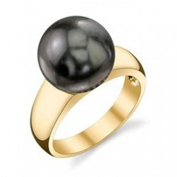 Tahitian South Sea BLACK Pearl ring 14K Gold