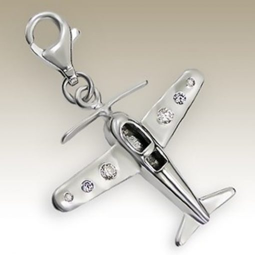 Aeroplane 3D clip on charm Sterling Silver