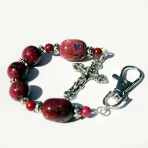 Rosary keychain crazy lace Agate