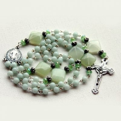 Rosary beads Amazonite and Prehnite