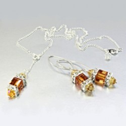 Sterling Silver earrings necklace Set Swarovski AMBER