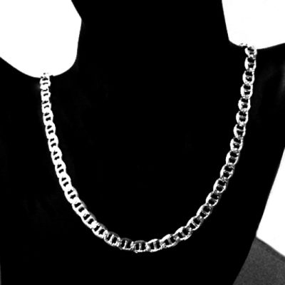 Sterling Silver chain Anchor mariner 7mm Italy double sided