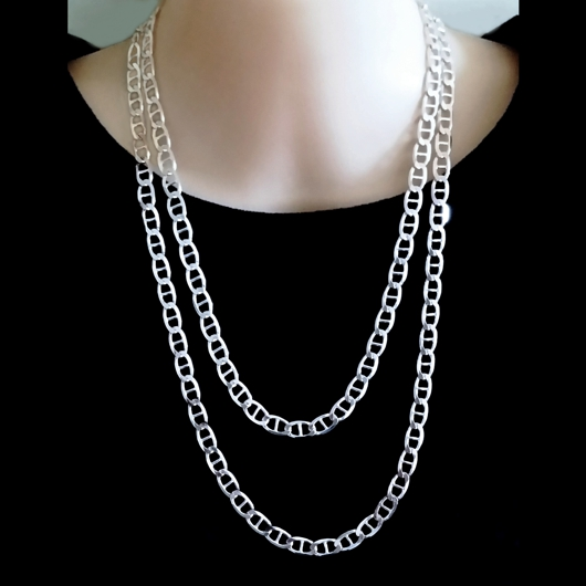 chain silver white mens inches chains sliver grams