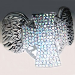 Cross Angel Wings bracelet stretch band rhinestones
