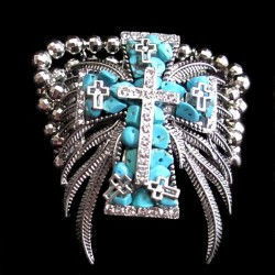 Cross Angel Wings stretch bracelet Turquoise