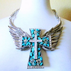 Angel Wings necklace Turquoise rhinestone