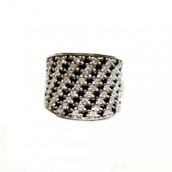 Ring Sterling Silver clear black zirconia DIAGONAL
