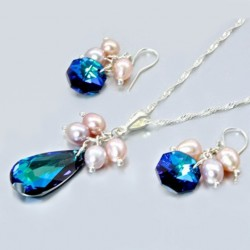 Swarovski Crystal necklace earrings set Sterling Silver BERMUDA BLUE