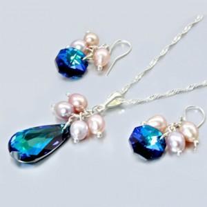 Swarovski Crystal necklace earrings set Sterling Silver BERMUDA BLUE