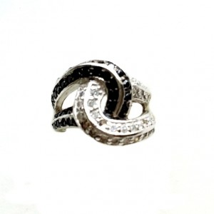 Ring Sterling Silver clear black zirconia KNOTTY