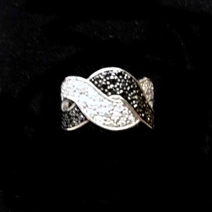 Ring Sterling Silver clear black zirconia WAVE