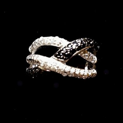 Ring Sterling Silver clear black zirconia CRISS CROSS