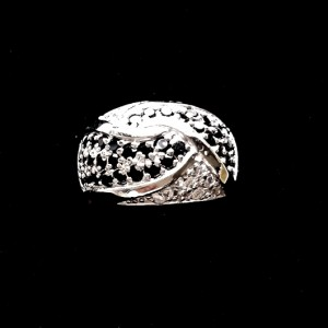 Ring Sterling Silver clear black zirconia