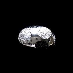 Ring Sterling Silver clear black zirconia 5 CIRCLES