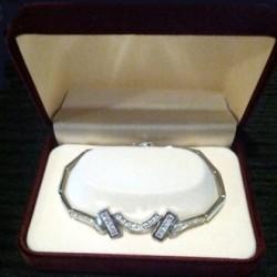 Bracelet Sterling Silver baguette brilliant cut zirconia Elegant