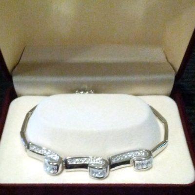 Bracelet baguette brilliant cut zirconia Sterling Silver Swirl