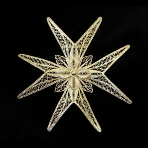 Sterling Silver filigree Maltese Cross brooch Italy