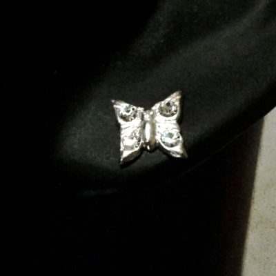 Sterling Silver stud Earrings BUTTERFLY Resting crystal