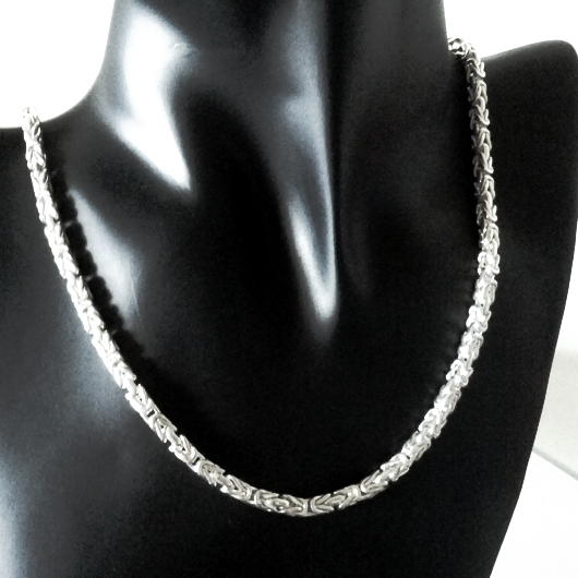 Sterling Silver chain Byzantine square 4mm 50cm